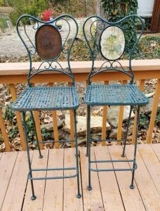 Wrought Iron Folding Bar Height Chairs With Foot Rests, Qty 2, 1 Missing Decorative Tile