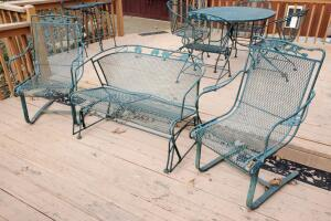 Wrought Iron Glider Bench And Matching Spring Loaded Arm Chairs Qty 2