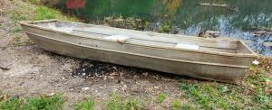 9.5 Foot Aluminum Flat Bottom Jon Boat, 45in Wide, Appears To Be Patched On Bottom, No Oars