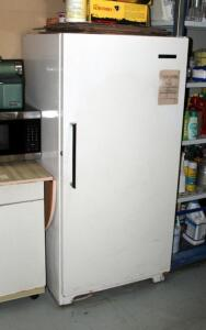 Frigidaire 16 Cubic Foot Upright Freezer Model UF-16J, Plugged In And Working, Contents Not Included, 59.5in x 28in x 31in