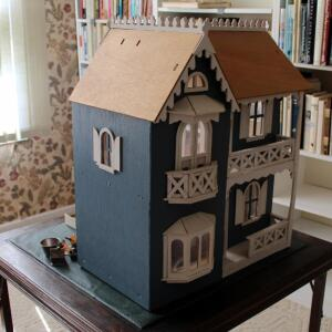 Vintage Hand Crafted Two Story Doll House, Complete With Furniture, Decor, Dolls, And All About Doll Houses Instructional Book By Barbara Farlie,...
