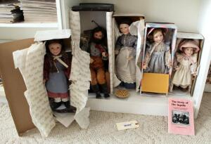Ashton Drake Galleries Little House On The Prairie Porcelain Doll Collection Including Pa Ingalls, Caroline Ingalls, Carrie, Laura, And Mary, All...