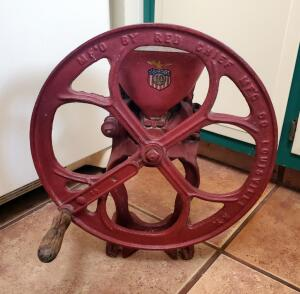 Antique Cast Iron Red Chief Manufacturing Co Grain Grinder, 18in Tall