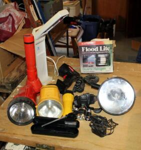 Flashlight Assortment Including Spotlight, Headlamp, Flood Light, And More, Total Qty 10
