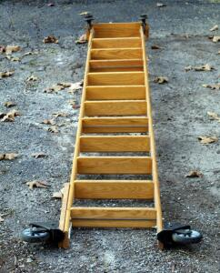 Cotterman Company Solid Oak 10.5ft Rolling Library Track Ladder, Needs Repair