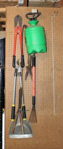 Hand Rakes, Loppers, Pruners, Pump Sprayer, And Bolt Cutters