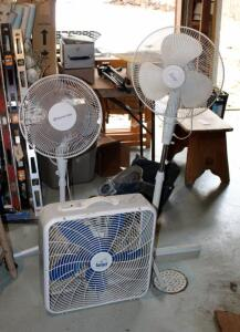 Comfort Zone And Aries Oscillating Floor Fans And Rain Guard Box Fan