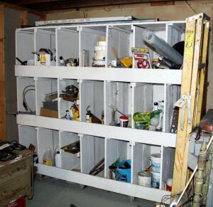 Painting Supplies, Sheetrock Tape, Insecticides, Household Hardware Including Electrical Wire, Plumbing Fixtures, And More, Contents Of Large Cabinet