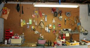 Spade Drill Bits, Household Hardware, Springs, 100 Foot Tape Line, Hand Saws, Fasteners, Drill Bits, Screwdrivers, And More, Contents Of Pegboard