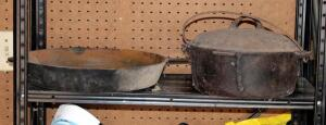 Antique 16 Inch Cast Iron Skillet And Dutch Oven Pot With Lid