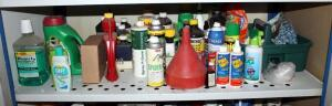 Large Assortment Of Insect Repellents, Fertilizers, Gardening Gloves, And More, Contents Of Shelf