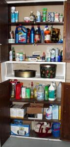 Household Cleaners Including Bleach, Ammonia, Dish Detergent, Septic Treatment, Light Bulbs, And More, Contents Of 2 Cabinets