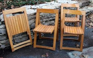 Solid Wood Flat Folding A Frame Chairs, Qty 4