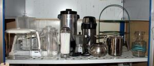 West Bend Electric Percolator, Insulated Beverage Dispenser, Kettles, Water Pitchers, And More, Contents Of Shelf