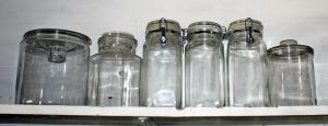 Glass Canister Assortment, Qty 6 Canisters Total