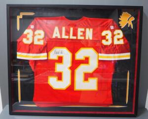 "Marcus Allen Kansas City Chiefs #32 Autographed Jersey, Framed, Under Glass, 38.5"" Wide x 32.25"" High"