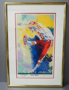 "Leroy Neiman (American, 1921-2012) Nick Lowery Kansas City Chiefs #8 Autographed Print, Signed By Player And Artist, Framed, 26.5"" W x 38.5"" H"