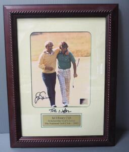 Jack Nicklaus And Tom Watson Autographed Photo With COA Sticker, Framed, Matted, Under Glass