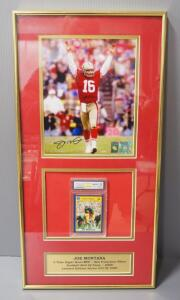 "Joe Montana Autographed 49ers #16 Photo With COA Sticker And Autographed College Player Card, Slabbed, Matted, Framed, 12"" Wide x 24"" High"