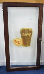 "Vintage Glass Cabinet Door With Coca-Cola Label and Image On Front, 25.5"" Wide x 40"" High"