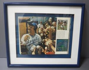 "George Brett Kansas City Royals Autographed National Geographic Magazine Image, Open In Shadow Box, 20"" Wide x 17"" High"