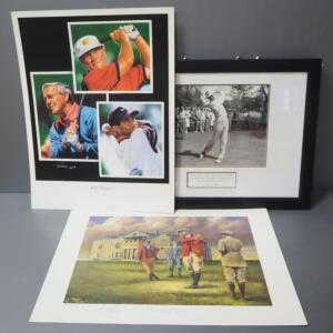 "Golf Art Collection, Includes Sam Snead Photo, Framed, Tim Cortez ""Golf Legends"" Print And Angelino Marino ""Where It All Began"" Print"