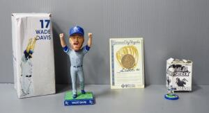 Kansas City Royals Wade Davis Bobblehead, Frank White Coin, And Mike Sweeney Figurine