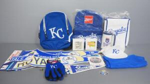 Kansas City Royals Collectibles, Includes Ring, Back Packs, Cooler, Pennants, Buttons, Autographed Coasters And More