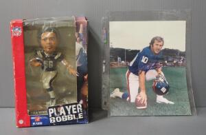 Fran Tarkenton New York Giants Autographed Photo And Shawne Merriman San Diego Chargers Bobblehead