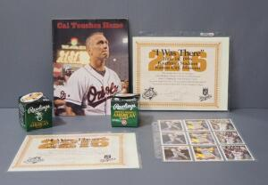 "Cal Ripken, Jr. Collectibles, Includes Balls, Player Cards, ""I Was There"" Certificates For World Record Consecutive Games Played And Magazine"