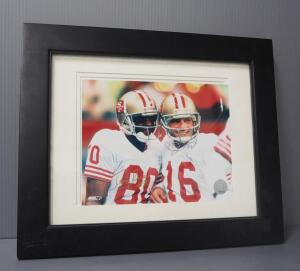 Joe Montana And Jerry Rice San Francisco 49ers Autographed Photo With COA Sticker, Matted, Framed, Under Glass