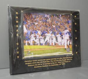 Kansas City Royals 2014 AL Wildcard Game Winning Photo With COA Sticker, Framed