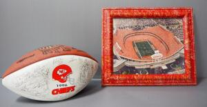 Kansas City Chiefs 1996 Team Stamped Autograph Football And Arrowhead Stadium Aerial Photo, Framed