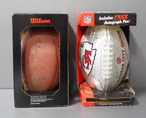 Autographed Footballs, Includes Kansas City Chiefs Ball With 3 Signatures And Wilson Ball With 2 Signatures, Names Undeciphered