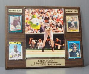 Barry Bonds Autographed Photo And 4 Player Cards Mounted On Plaque With COA