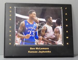 Ben McLemore Kansas Jayhawks Basketball Autographed Photo Mounted On Plaque
