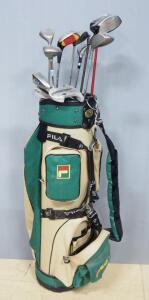 Golf Clubs, Various Brands, Includes Maxfli, Callaway, Taylor Made, Ping, Qty 11, In Fila Golf Bag
