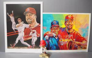 Mark McGwire St. Louis Collectibles, Includes Angelo Marino Print Signed By Artist, Malcolm Farley Print And Mark McGwire Figurine