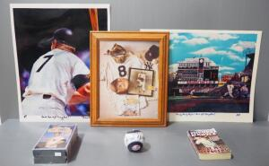 Mickey Mantle New York Yankees Collectibles, Includes Robert Stephen Simon Autographed Prints (2), Book, VHS Tapes, Yankee Ball And Memorabilia Photo