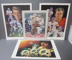 NFL Football Prints, Some By Angelo Marino, Includes John Elway, Troy Aikman, Joe Namath (Aikman And Namath Signed By Artist) And Dolphins Poster