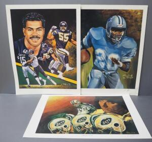 Angelo Marino NFL Prints, All Signed By Artist, Includes Junior Seau (Numbered 417/900), Barry Sanders, And Joe Namath