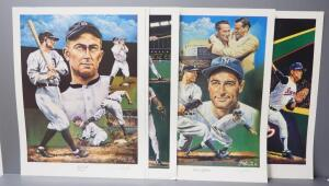Angelo Marino Baseball Prints, All Signed By Artist, Includes Ty Cobb (2), Nolan Ryan (No. 678/900), Lou Gehrig (No. 1257/1450), And Cal Ripkin Jr.