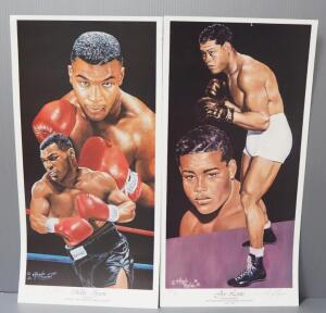 Angelo Marino Boxing Posters Of Mike Tyson (Numbered 622/900) And Joe Louis (Numbered 893/900), Both Signed By Artist