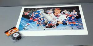 Angelo Marino NHL New York Rangers 1994 Stanley Cup Champions Print, Signed By Artist, And Colorado Avalanche NHL Puck, NIB
