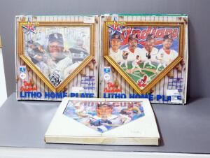 "Sportacular Art Litho Home Plates, Includes Cleveland Indians, Frank Thomas ""The Big Hurt"" And Atlanta Braves Young Guns"