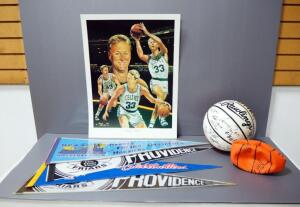 Basketball Collectibles, Includes Angelo Marino Larry Bird Print, Signed By Artist, UMKC Team Autographed Ball, Pennants, And More