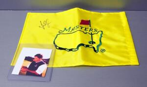 Fred Couples Autographed Masters Augusta National Golf Pin Flag And Image Of Fred Couples Signing Flag