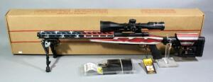 Howa Model 1500 US Flag 6.5 Creedmoor Bolt Action Rifle SN# B591989, Unfired, With Scope, Bipod, Adjustable Stock And More, See Description