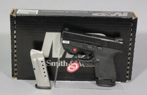 Smith & Wesson M&P9 Shield 9mm Luger Pistol SN# JHJ0168, Crimson Trace Laser, 2 Total Mags And Paperwork, In Original Box