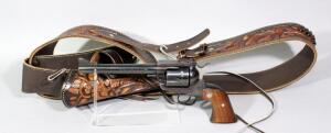 Ruger New Model Blackhawk .357 MAG 6-Shot Revolver SN# 33-82385, With Tooled Leather Holster And Ammo Belt